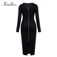 Buy Kinikiss Autumn Bodycon Zipper Dress Women Sexy Open Backless Midi Dress Black Long Sleeve Office Party Knitted Sweater Dress for $17.10 in AliExpress store