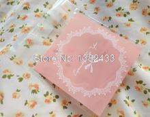 100pcs Especially For You Gift Bags w/ Doily & Ribbon Pattern Pink Self Adhesive Resealable Clear Plastic Bags 6.9cm x 7cm(China)