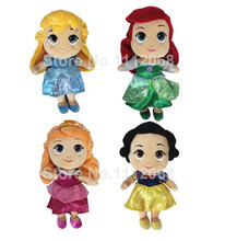 New Princess Doll 30CM Little Mermaid Ariel Snow White Cinderella Aurora Briar Rose Plush Toys Dolls For Girls Kids Gift bonecas(China)