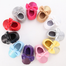 Bling Brand Pink Bow Baby Girl Shoes Newborn Boots Girls Tassel Casual Crib Booties Kids Sneakers Leather Sole Toddler Moccasins
