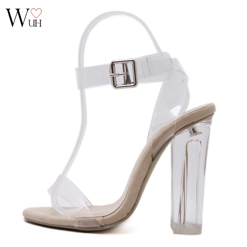 Women Sandals Ankle Strap Perspex High Heels PVC Clear Crystal Concise Classic Buckle Strap High Quality Fashion Shoes Woman<br><br>Aliexpress