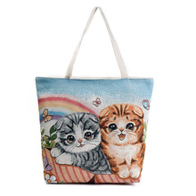 Creative Cute Cat Women Messenger Handbags With Butterfly Printing Pattern Shoulder Bag Kawaii Cat Lady Shopping Tote Bag Girls