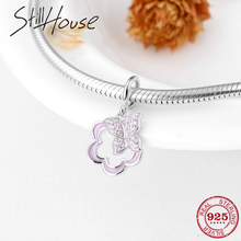 New 925 Sterling Silver Pink Enamel Charm Flowers CZ butterfly Floating  charms Fit Original Pandora Bracelet 126de70a998e