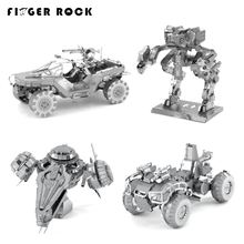 Finger Rock Metal 3D Puzzle HALO Mantis Pelican Dropship WartHog DIY Assembly Model Children Educational Jigsaw Puzzles Present