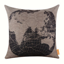 LINKWELL Pillow Case Burlap Cushion Cover 18x18 inch Vintage Black World Map Eastern Hemispheres Africa Asia Europe Australia