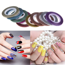10 Rolls Nail Art Glitter Gold Silver 10 Colors Stripping Tape Line Strips Decor Tools 3mm Nail Sticker DIY Beauty Accessories
