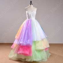 Rainbow Colored 2015Quinceanera Dresses Beaded Lace Back Corset Plus Size Long Sweet15 Anos Ball Gown Mordern Quinceanera Dress