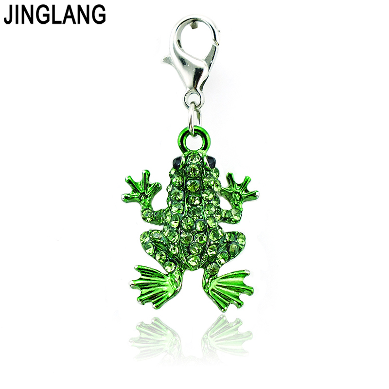 JINGLANG Charms With Lobster Clasp Dangle Full Rhinestone Frog Pendants Animals DIY Charms For Jewelry Making Accessories(China (Mainland))