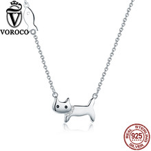 VOROCO 2017 925 Sterling Silver Minimalist Cute Cat and Fish Pendants Chain Necklace For Women Wedding Fine Jewelry VSN029(China)