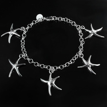 Ms. fashion jewelry silver Starfish Pendant Bracelet sweet birthday gift high quality factory price hot(China)