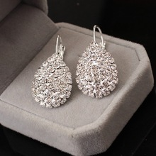 2017 Women Boucle D'oreille Crystal Jewelry White silver Dazzling Cubic Zirconia Rhinestone Wedding Earrings Stud Brincos