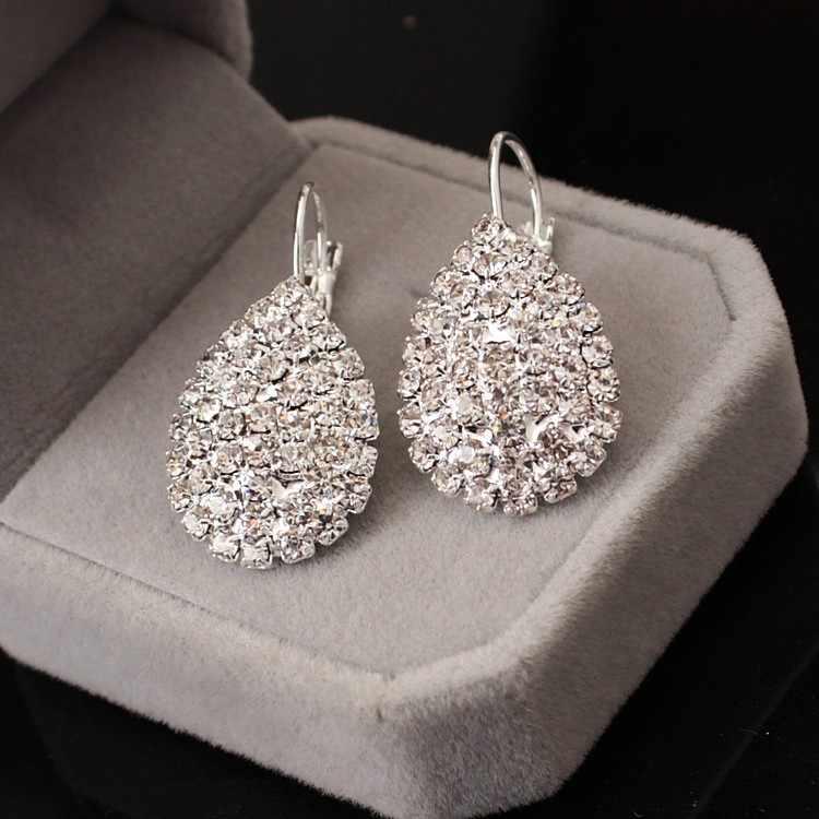 2017 Women Boucle D oreille Crystal Jewelry White silver Dazzling Cubic  Zirconia Rhinestone Wedding Earrings 68a1004d94e3