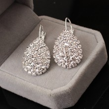 2017 Women Boucle D'oreille Crystal Jewelry White silver Dazzling Cubic Zirconia Rhinestone Wedding Earrings Stud Brincos(China)