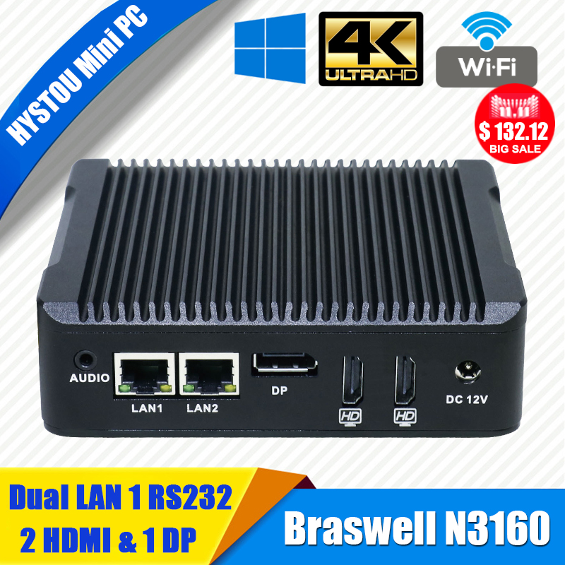 HYSTOU Dual LAN Minipc Windows Celeron N3160 Quad Core Mini PC Palm Size TV Box Windows 2*HDMI 2.0 DP Port Barebone PC System(China (Mainland))