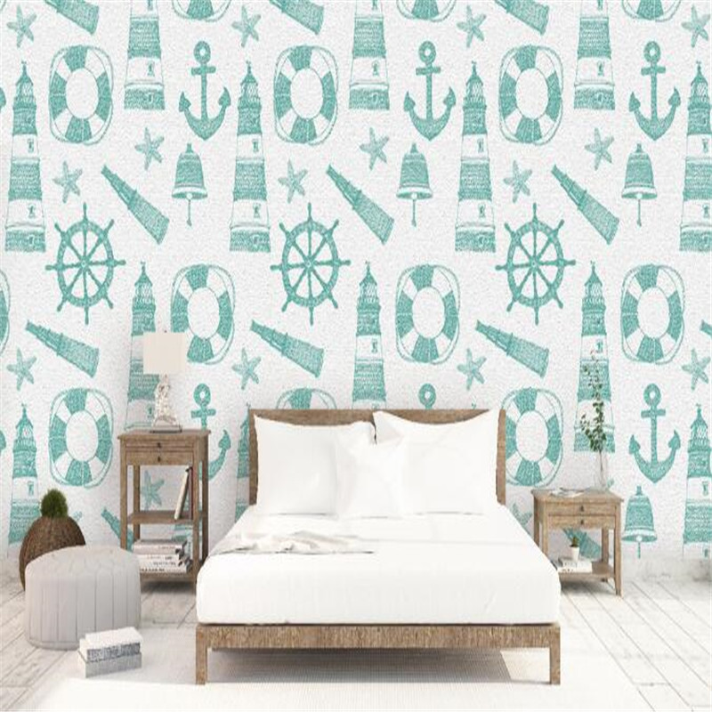 Mediterranean Style Wallpaper Roll Cute Cartoon Photo Wallpapers Green Lighthouse Wallpaper Kids Wall Mural for Children Room <br>