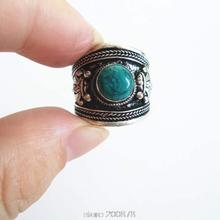 R137 Tibetan silver inlaid Green Stone Dorje Amulet Ring,India Nepal Antiqued Man Vintage Ring