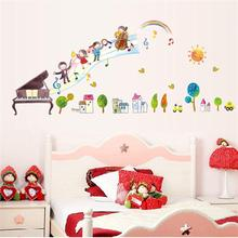 Hot 135*55cm Cartoon  Children's concert music note Wall Sticker 7053 Nursery children bedroom Rome Decoration
