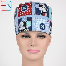 medical scrub cap long hair women Blue World