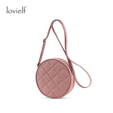 lovielf school girl women simple cute design Canvas waterproof Pink Round Shoulder Bags Circular Dots durable Cross Body Bags
