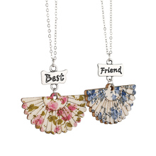 2pcs/set floral fan Chinese style necklace Pendant Jewelry For Best friends Necklace metal Chain Trendy birthday Gift Wholesale(China)