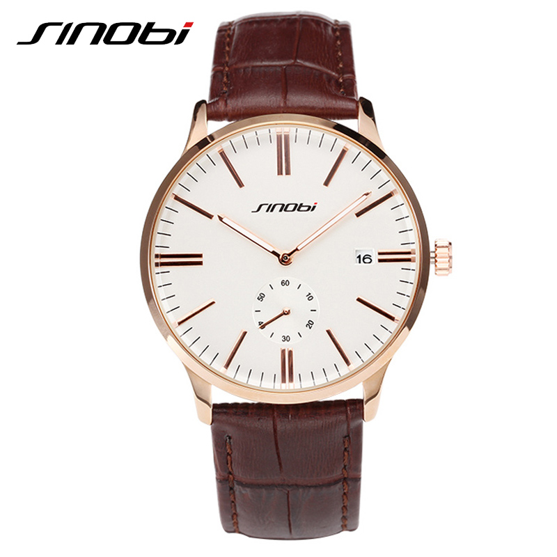 SINOBI Casual Business 2017 New Leather Band Mens Watch Office Vogue Waterproof Multifunction Watch Man Outdoor Relojes Hombre<br><br>Aliexpress