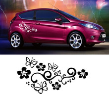 Car Styling Personalized Cut off scratches and butterflies lace Waterproof Full Body Car Sticker Automobiles Exterior Decoration(China)
