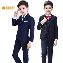 2017 Full Regular Coat Boys Suits For Weddings Kids Prom Wedding Clothes For Children Clothing Sets Boy Classic Costume Dresses(China)
