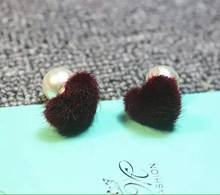 Queen Rose New FashionEarrings Love-heart Fur Ball Sided Pearl Earrings Female Stud Earring Free Shipping()