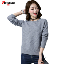 TONGMAO2017 Autumn and Winter New Women Sweater Round neck Long sleeves Solid color Women Tops Open fork bottom Lattice Pullover(China (Mainland))