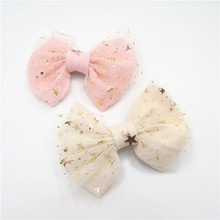 10pc/lot Glitter Star Mesh Bow Girls Hair Clip Soft Cotton Bow Knot Sparkly Copper Pendant Barrette Cream Pink Sweet Hair Grip(China)