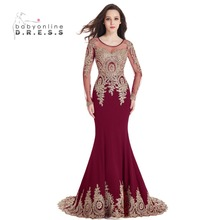 Sexy O-neck Black Mermaid Gold Lace Evening Dresses 2017 Long Sleeve Dubai Kaftan Formal Dress Sexy Sheer Back robe de soiree