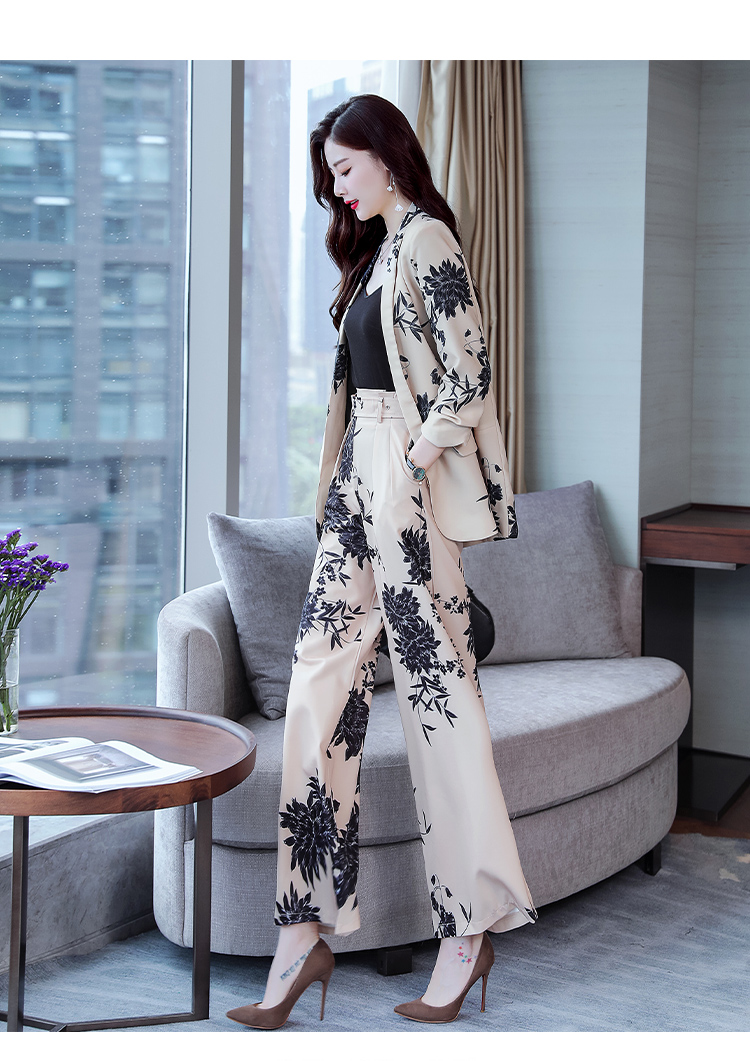 YASUGUOJI New 2019 Spring Fashion Floral Print Pants Suits Elegant Woman Wide-leg Trouser Suits Set 2 Pieces Pantsuit Women 18 Online shopping Bangladesh
