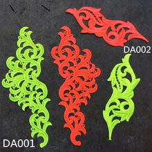 2 pairs Venise fluorescent yellow orange Flower Lace Trim Tango dance ballet costumes Dress Decor Sewing Applique Crafts DA001
