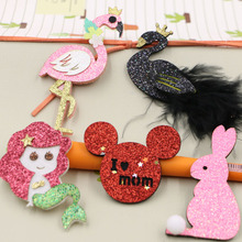 2017 New Design Glitter/feather decoration Cartoon Mermaid/Crane/Rabbits/Mouse/Swan Shape Handmade Non-woven Felt Hair Jewelry