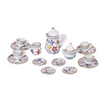 15 Piece Miniature Dollhouse dinnerware porcelain tea set tableware Cup plate Colorful floral print(China)