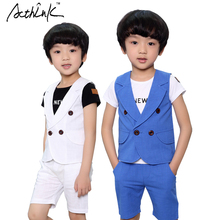 ActhInK New Boys Summer Solid Double-Breasted Waistcoat Kids England Style Wedding Clothing Set Boys Summer Middle Pants, AC083