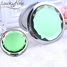 1pcs Crystal Makeup Mirror Portable Round Double-Side Folded Compact Pockets Mirrors Making Up Tool For Personalized Wedding Gif(China)