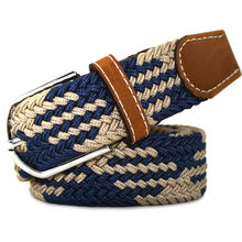 2016 Hot Stylish Wild 120cm Stretch elastic rubber Belt Alloy Pin Buckle Woven Waistband for Men/Women