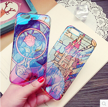 Cute Cartoon Castle Rose Flower Case Cover For Apple iPhone 6 6S Case Silicone 6 Series Soft Transparent Case For Phone