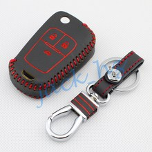 3-Buttons Leather Key Case Fob For Buick Excelle 2010 2011 2012 2014 2015 2016 Keychain Ring Holder Decor Cover Accessories