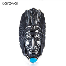 Ranzwal Punk Rock Men Stainless Steel Rings Long Indian Chieftains Head Finger Ring Indian Jewelry US SIZE 7~13 MRI146