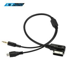 3.5mm Mini Aux USB Adapter for Audi Music Interface Cable for Audi mmi A3 A4 A5 A6 TT for VW Jetta GTI GLI Passat CC Touareg(China)