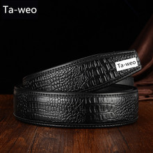 Fashion Men's Crocodile Striped Leather & PU Belt Without Buckle Designed For Automatic Buckle Belt Ceinture Homme Luxury
