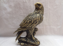 "ZSR915+++ 9"" Chinese Bronze Lanneret Tercel FengShui Fly Bird Eagle Hawk Tree Bough Statue"