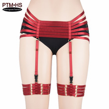 Womens Fashion Bondage Garter Belt high waist and thigh Stocking Suspender Elastic Strappy Lingerie Goth Body Harness Rave Wear