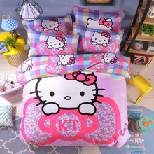 Cartoon 3d Bedding Set Pink blue striped lattice Hello Kitty Printed for Kids Bed Linen 4pcs Duvet Cover Bed Sheet Pillowcases