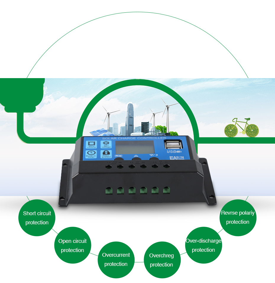 EASUN POWER Solar Controller 12V 24V 30A 20A 10A Solar Regulator PWM Solar Panel Battery Charger LCD Display Dual USB 5V Output DES-10