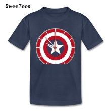 Captain America T Shirt Baby 100% Cotton Short Sleeve Round Neck Tshirt Children Teeshirt 2017 Discount T-shirt For Boys Girls(China)