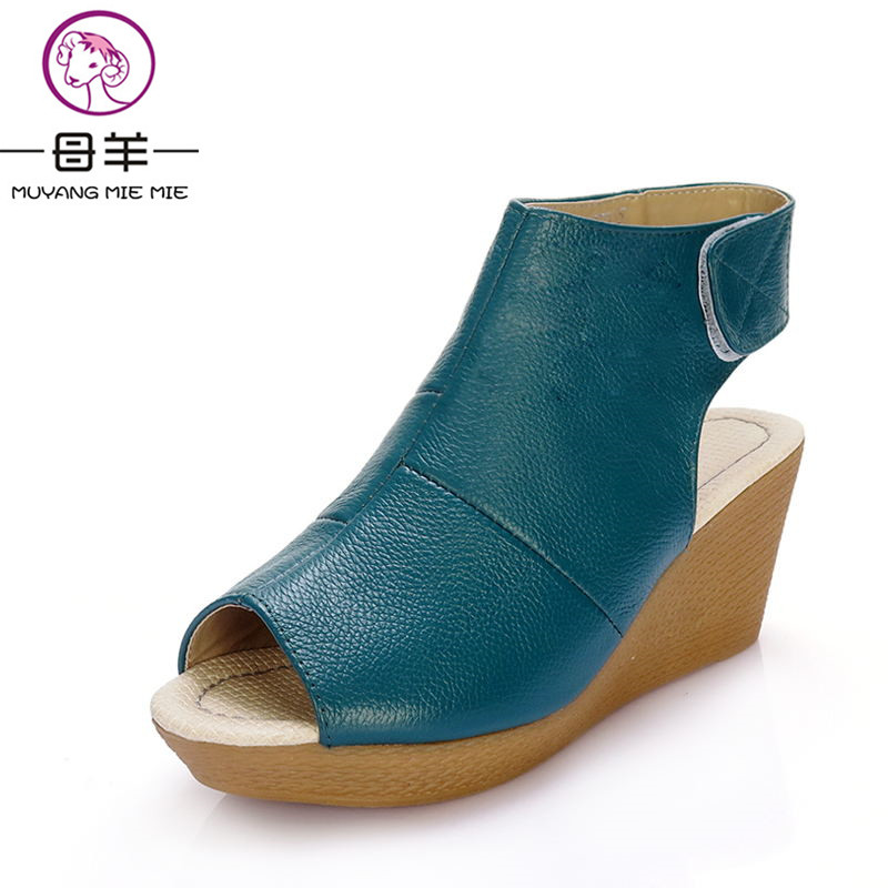 Summer new arrival 2017 sandals women's shoes fashion wedges vintage first layer of cowhide sandals open toe shoes woman(China)