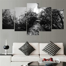 5 Panel Canvas Art Old Tree Oil Paintings Black And White Landscape Picture Modular Paintings On The Wall Photo Unframes